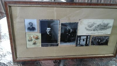 Framed Picture w/Vintage Advertisement Ads & Black /White Photos