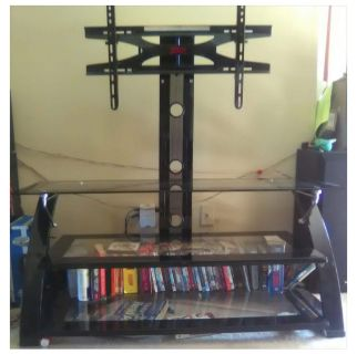 TV Stand TV mount w/3 glass shelves