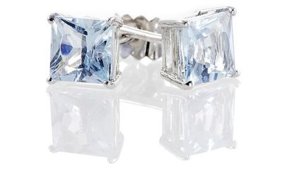***BRAND NEW 2CTTW Princess Cut Aquamarine Earrings***
