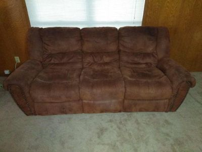 Microfiber brown reclining couch
