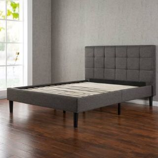 Queen Size Upholstered Square Stitched Platform Bed - New!
