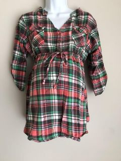Pink and green plaid maternity top