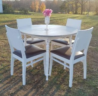 COUNTRY GRAY AND WHITE FARMSTYLE DINING TABLE (CHAIRS SOLD SEPARATELY)