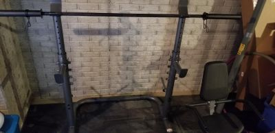 Gold's gym weight rack and bar