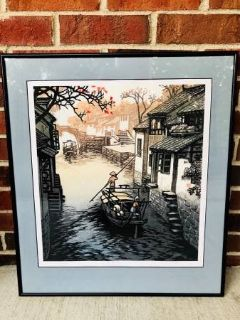 FRAMED CHINESE BOAT IN CANAL SCENE