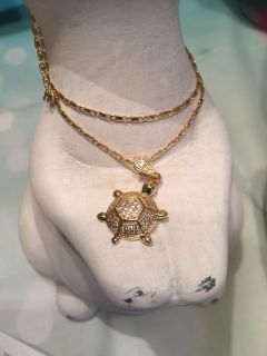 18k GPL Turtle Pendant With Chain Necklace