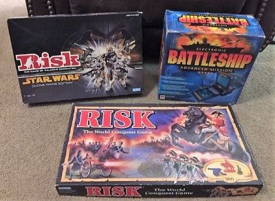 Board Games - Electronic Battleship, Star Wars Risk Clone Wars Ed., Risk World Conquest Game