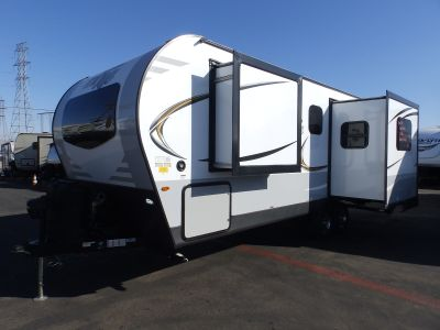 2019 Forest River ROCKWOOD 2512SB, 2 SLIDES, REAR KITCHEN, POWER AWNING, FIREPLACE, SOLID SURFACE COUNTERTOPS, HEATED MATTRESS