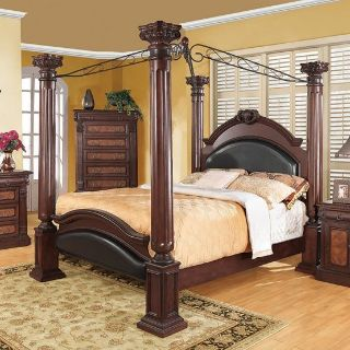 Roman empire canopy 4 post wooden bed, dark cherry! KING size!!