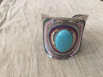 Bohemian Vintage Sterling Silver, Turquoise with colors Cuff Bracelet