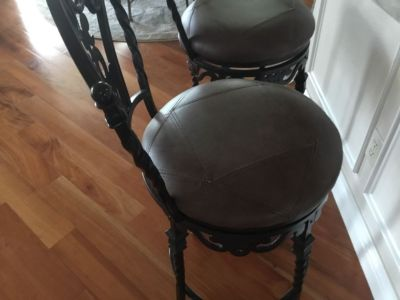 Bar stools, wrought iron