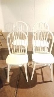 4 antique white country dinning chairs