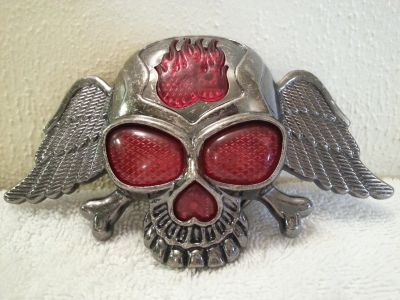 Skull Belt Buckle with lights & earie laughing once it's pushed)