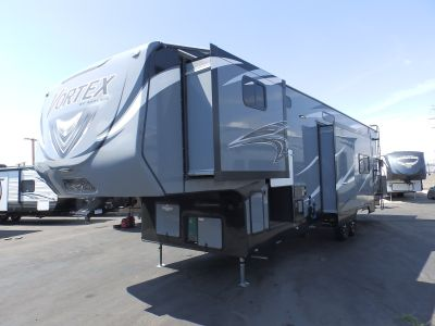 2020 Genesis Supreme VORTEX 3817V, 2 SLIDES, ELECTRIC DINETTE, 2 A/C'S, ONAN 5500, 320 WATT SOLAR PANEL, RESIDENTIAL PACKAGE, ARCTIC PACKAGE, RAMP DOOR PLAYPEN