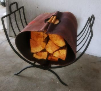 Folding Metal Log Holder with Canvas Tote for Gathering