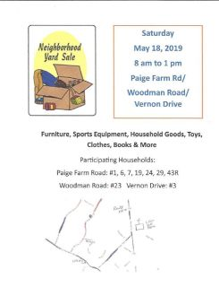 Sat May 18, 8 am to 1 pm  Paige Farm Road Amesbury Neighborhood Yard Sale