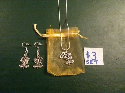 Rose earrings and letter B with rose necklace 18 inch real silver chain for total $3