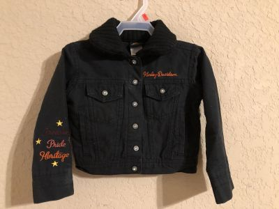 Harley Davidson Motorcycles Black FREEDOM PRIDE HERITAGE Jean Jacket. Nice Condition. Size 3T. Firm