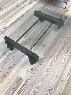 ABC Home rustic glass coffee table on wheels