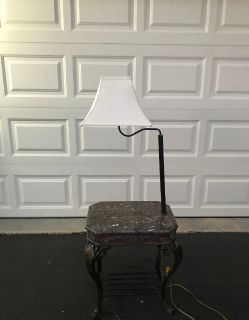 Combination Floor Lamp End Table with Shelves and Swing Arm Shade