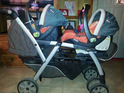 chicco double stroller with car seats