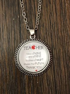 Teacher gift necklace with bag new! teacher takes a hand open the mind touches a heart shapes the future thank you