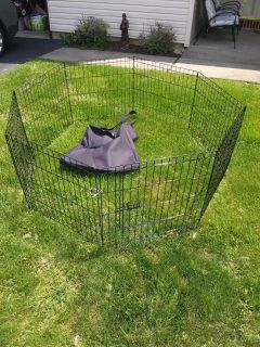 8 Section Indoor Outdoor Black Metal Octagonel Child Pet Fence with carrying bag