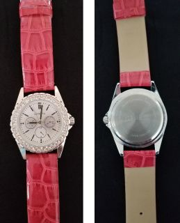 Watch with Rhinestones and Faux Leather Band