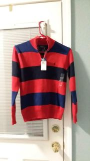 NWT. Boy's polo SZ M12/14. Navy/red and black.