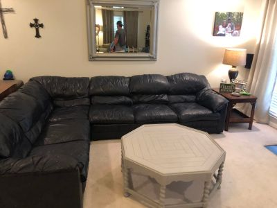 Navy Italian Leather Sectional and matching Chair