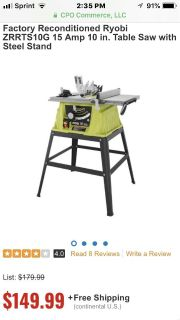 Factory Reconditioned Ryobi ZRRTS10G 15 Amp 10 in. Table Saw
