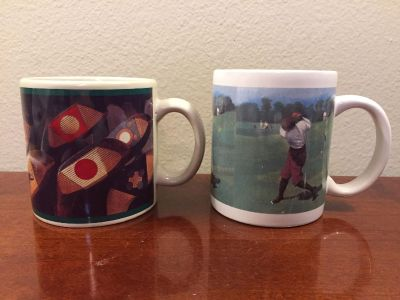 Vintage-Style Golf-Themed Coffee Mugs! COLLECTIBLE!