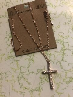 New rosegold Necklace -cross 18
