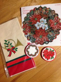 """Christmas Paperware, includes 20 coasters, 10 ten inch doilies & One 54""""x 102"""" Hallmark table cover"""