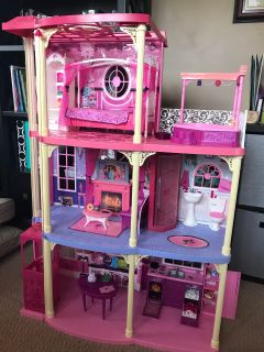 Barbie Doll House Pink 3-Story Dream Townhouse