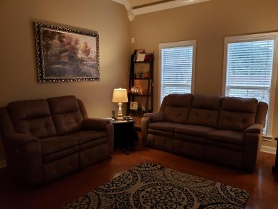 Inspire power head rest/ reclining sofa and loveseat set!