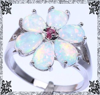 New - White Fire Opal Flower Ring with Pink Kunzite Center - Size 7
