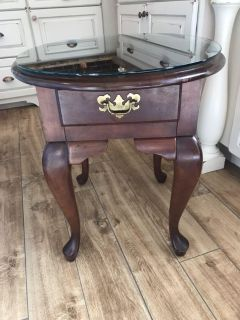 Solid Wood Side Table w/Glass Top