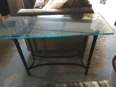 Console table all glass on top. Glass would need to be secured back on