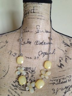 Vintage Antique yellow flowers butterflies necklace