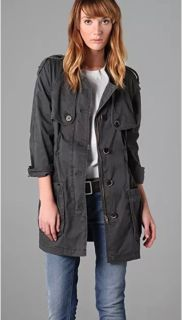 Free People Field Utility Trench military Coat jacket Vintage washed Gray Med.
