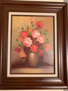 Signed Oil Painting by Emily -Wood Frame
