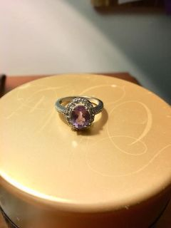 Zales oval amethyst sterling silver ring
