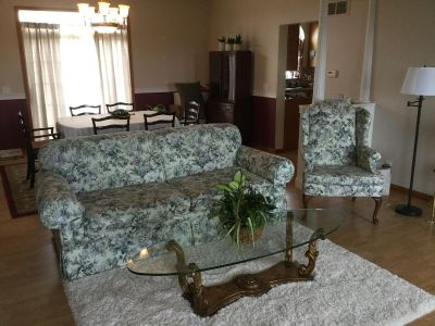 Sofa and wingback chair