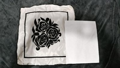 Black and white floral throw pillow cover
