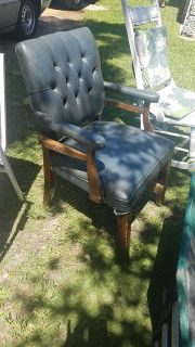 Vintage chair - repaired and sturdy, original leather