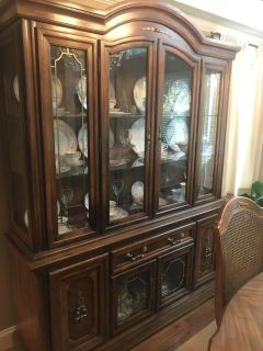 Lighted China Cabinet with Storage
