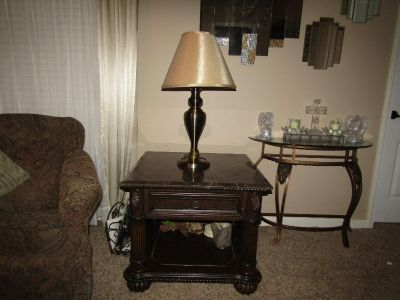 2 Matching Marble Top End Tables with pull out drawer