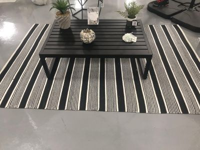 At Home 5x7 outdoor black & white rug, was too big for my space so my loss is your gain. Bought off floor so can t return. Only $65!