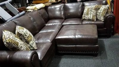 Display Model Leather Sectional Couch And Ottoman - Delivery Available